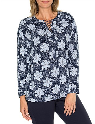 Long Sleeve Lace Up Front Shirt