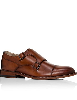 Anitque calf leather double monk