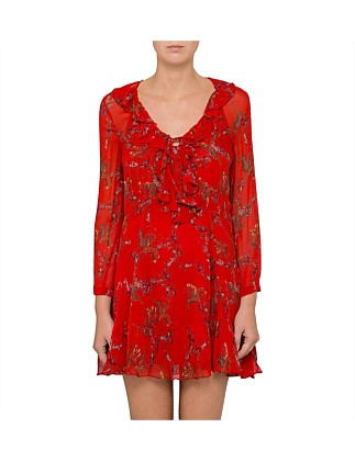 LUCINE TIE UP RED PRINT DRESS