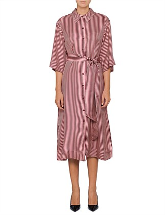 3/4 Slv Belted Shirt Dress