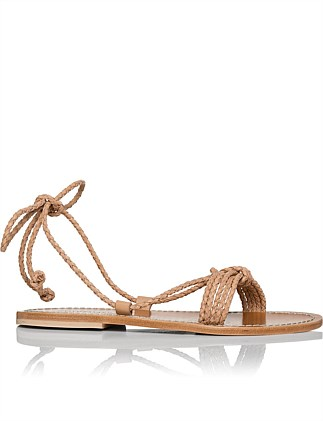 New Greek Brown Leather Thong Silver Strap Sandal Beads Lilac Ribbons 5us/ 36eu Sandals