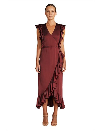Zephyr Ruffle Wrap Midi Dress