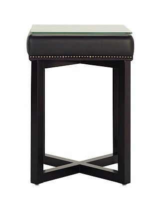 Nova' Bedside Table - Premium Onyx Leather with Glass Top
