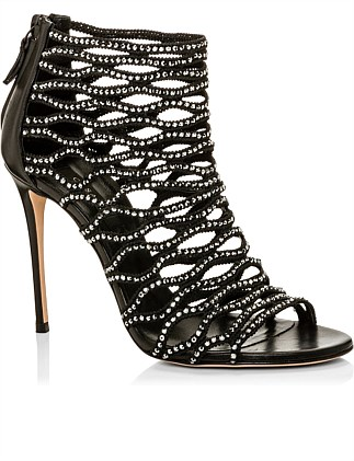 CRYSTALS CAGE SANDAL OPEN TOE 100MM HEEL