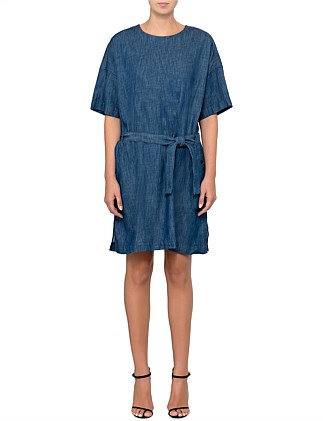 Deline denim shirt dress shortsleeve