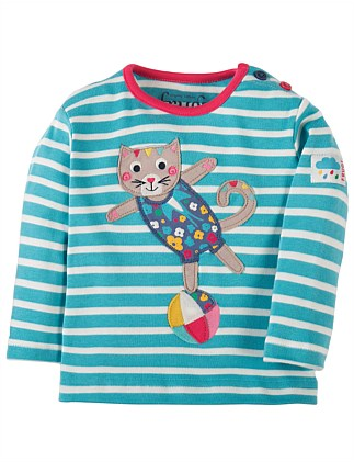 Cat Button Applique Top (0-24months)