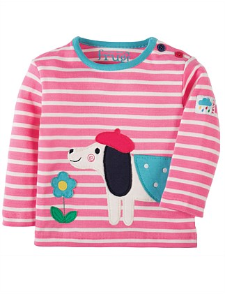 Dog Button Applique Top (0-24months)