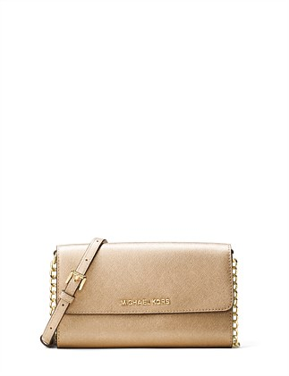072172698044 Jet Set Travel Metallic Leather Smartphone Crossbody. Michael Kors