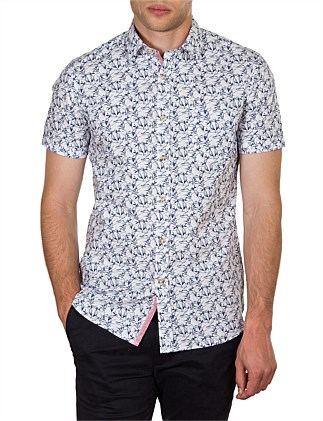 DERBY SHORT SLEEVE BOTANICAL PRINT SLIM FIT SHIRT
