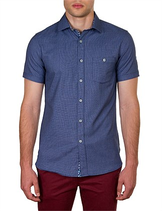 CLYDE SHORT SLEEVE TEXTURED WEAVE SLIM FIT SHIRT