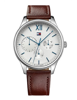 Gents Damon Multifunction Slv Wht Dial Brn Leather Strap