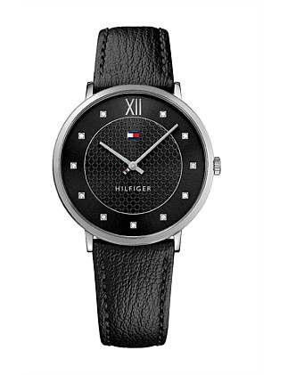 Gents Sloane Qtz SS Rnd Blk Dial Blk Leather Strap