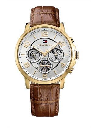 Gents Keagan Multifunction Slv Wht Dial Brn Leather Strap