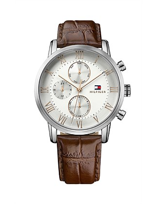 Gents Kane Multifunction Slv Wht Dial Brn Leather Strap