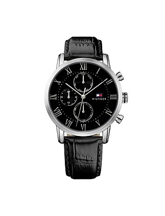 Gents Kane Multifunction SS Rnd Blk Dial Blk Leather Strap