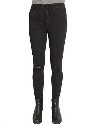 High Lisa Skinny Ankle Jean with knee slit