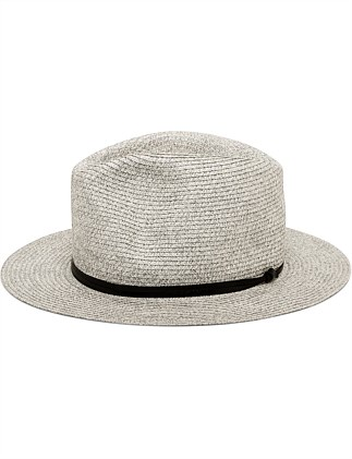 PAPER STRAW FEDORA WITH LEATHER BAND