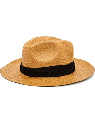 PAPER STRAW FEDORA TWISTED BAND
