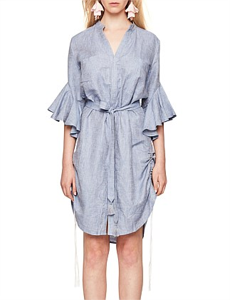 WATERFALL SLEEVE SHIRT DRESS WITH DRAWCORDS