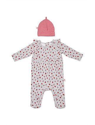 Cherry Pie Studsuit & Beanie (Newborn-1year)