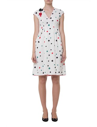 MID-CALF LENGTH DRESS WITH COLOUR SPLASHES