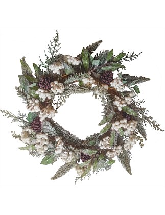 wreath frosted green white berry pinecone 50cm christmas shop