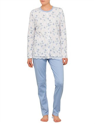 Round Neck Button Up Long Sleeve Pyjama with Lace Edge