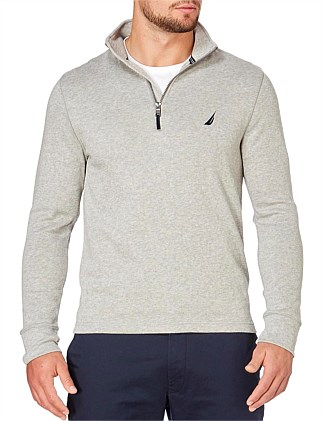 1/2 ZIP MOCK NK GREY HTHR