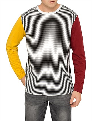 Colour Block Stripe Cotton T-Shirt
