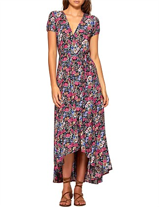 SUPER BLOOM VALLEY WRAP MAXI DRESS