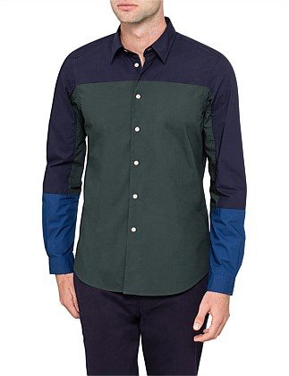 Tailored Fit Colour Block Cotton Shirt