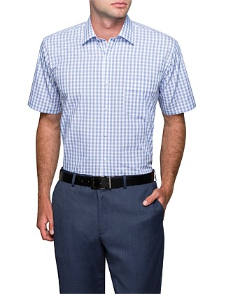 GINGHAM CHECK SHORT SLEEVE CLASSIC FIT SHIRT