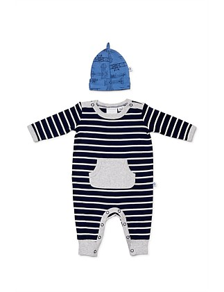 Blueprint Footless Studsuit with Beanie (Newborn-1year)