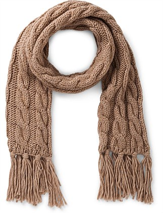 KNITTED KNOT WEAVE SCARF