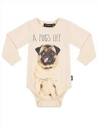 12f9d33169 A Pugs Life Long Sleeve Bodysuit (3-24months) ...
