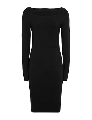 AUDREY-KEY HOLE BLACK DRESS