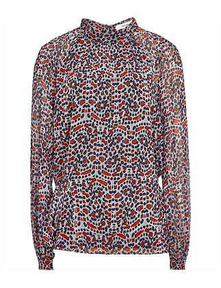 SABRI-LONG SLEEVE PRINTED TOP