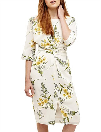 SANDRINE FLORAL WRAP TIE DRESS