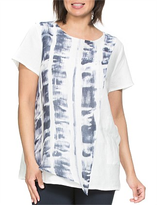 Abstract Print Linen Top