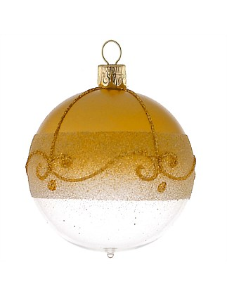 Ornament Bauble Glass Gold Metallic Detail 7Cm