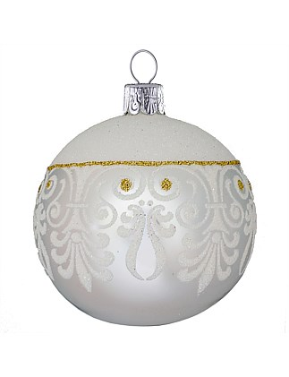 Ornament Bauble Silver/White Glitter 8Cm