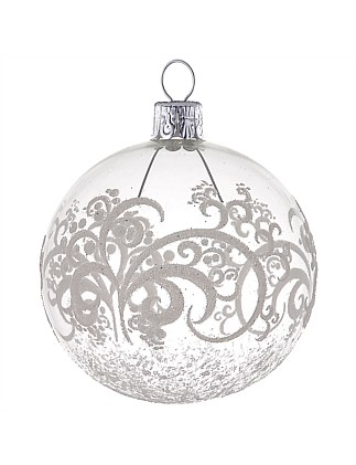 Ornament Buable Glass Folklore Pattern Clear 8Cm