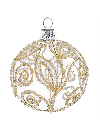 Ornament Bauble Glass White Gliter Leaves Clear 8Cm