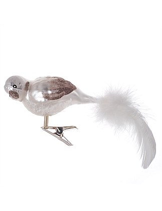 Ornament Glass White Swan Feathertail
