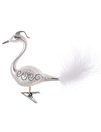 Ornament Glass Matte White Glitter Swan Feathertail