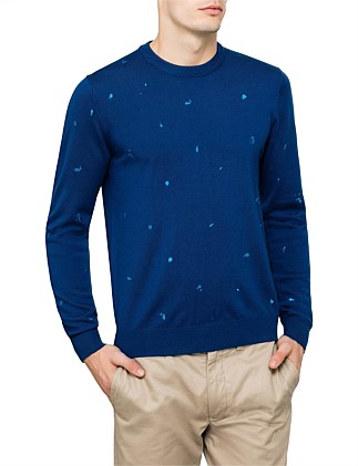 Tonal Paint Splatter Embroidered Crewneck Knit