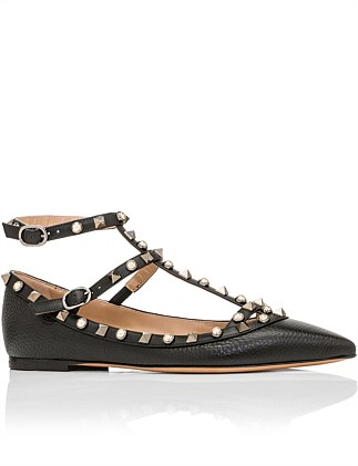 ROCKSTUD CAGED FLAT SHOES