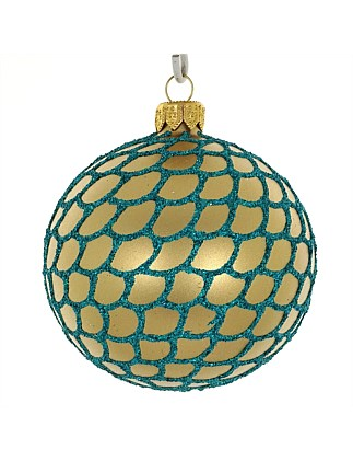 ORN -GOLD METALLIC WITH TURQUOISE DECOR