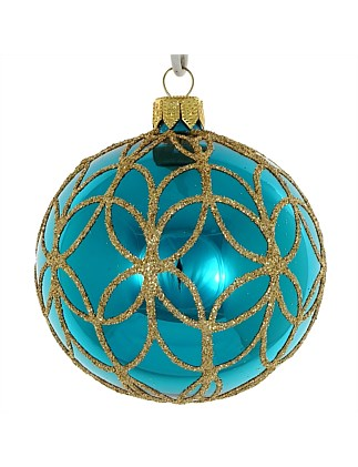 ORN -TURQUOISE SHINY WITH GOLD GLITTER DECORATION