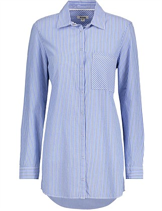 Longline Striped Cotton Shirt